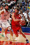 Real Madrid´s Mirotic (L) and CAI Zaragoza´s Stefansson during 2013-14 Liga Endesa basketball match at Palacio de los Deportes stadium in Madrid, Spain. May 30, 2014. (ALTERPHOTOS/Victor Blanco)
