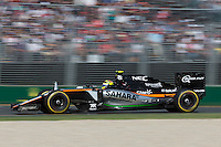 March 20, 2016: Sergio Perez (MEX) #11 from the Sahara Force India F1 team at turn two of the 2016 Australian Formula One Grand Prix at Albert Park, Melbourne, Australia. Photo Sydney Low
