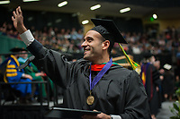 Mahmoud Arafat, CIVL MS, after receiving his degree during the UAA Spring 2018 Graduate Degree Hooding Ceremony.
