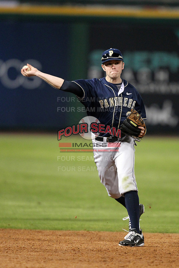 Evan Oswald #35 of the Pittsburgh Panthers during the Big East-Big Ten Challenge vs. the Iowa Hawkeyes at Bright House Field in Clearwater, Florida;  February 19, 2011.  Photo By Mike Janes/Four Seam Images