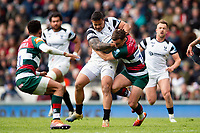 Alapati Leiua of Bristol Bears fends George Ford of Leicester Tigers. Gallagher Premiership match, between Leicester Tigers and Bristol Bears on April 27, 2019 at Welford Road in Leicester, England. Photo by: Patrick Khachfe / JMP