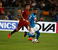 Diego Perrotti Elseid Hysaj  during the  italian serie a soccer match, AS Roma -  SSC Napoli       at  the Stadio Olimpico in Rome  Italy , 14 ottobre 2017