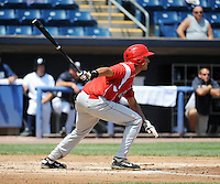 Batavia Muckdogs infielder Javier Lopez (35) during game against the Staten Island Yankees at Richmond County Bank Ballpark at St.George on July 18, 2013 in Staten Island, NY.  Batavia defeated Staten Island 8-2.  (Tomasso DeRosa/Four Seam Images)