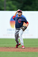 John Cox (1) of Greenville High School in Simpsonville, South Carolina playing for the Cleveland Indians scout team during the East Coast Pro Showcase on August 2, 2014 at NBT Bank Stadium in Syracuse, New York.  (Mike Janes/Four Seam Images)