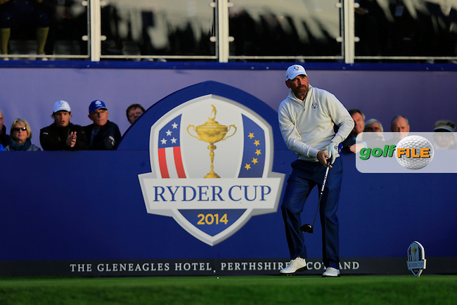 Thomas Bjorn (EUR) on the 1st tee during the Saturday Fourball Matches of the Ryder Cup at Gleneagles Golf Club on Saturday 27th September 2014.<br /> Picture:  Thos Caffrey / www.golffile.ie
