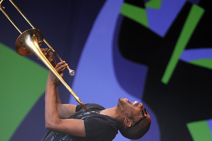 Trombone Shorty performs at the 2012 Monterey Jazz Festival.