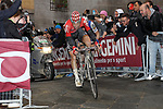 Tim Wellens (BEL) Lotto-Soudal and Zdenek Stybar (CZE) Quick-Step Floors at the summit of the final climb of Via Santa Caterina in Siena during the 2017 Strade Bianche running 175km from Siena to Siena, Tuscany, Italy 4th March 2017.<br /> Picture: Heinz Zwicky/Radsport.ch | Newsfile<br /> <br /> <br /> All photos usage must carry mandatory copyright credit (&copy; Newsfile | Heinz Zwicky/Radsport.ch)