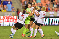 Houston, TX - Sunday Oct. 09, 2016: Western New York Flash celebrate, Sabrina D'Angelo, Jaelene Hinkle, Lynn Williams, Abigail Dahlkemper, Kristen Hamilton after the National Women's Soccer League (NWSL) Championship match between the Washington Spirit and the Western New York Flash at BBVA Compass Stadium. The Western New York Flash win 3-2 on penalty kicks after playing to a 2-2 tie.