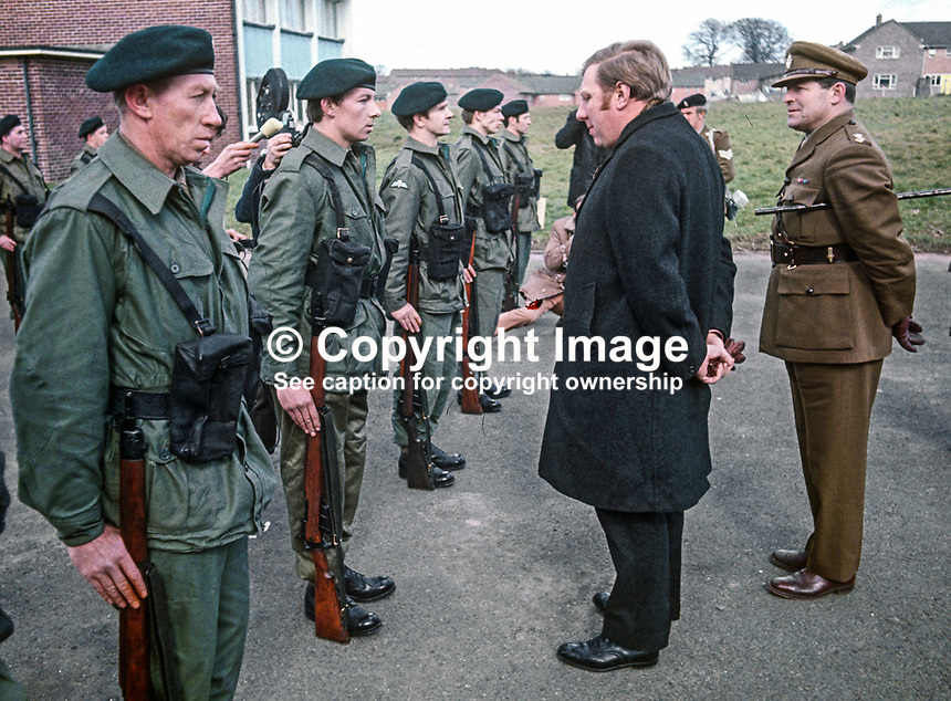 Roy Hattersley, MP, Labour Party, Defence Minister, inspects the first member of the newly-formed Ulster Defence Regiment, UDR, about to go on duty on 1st April 1970 when the regiment became operational for the first time. 197004010112b.<br /> <br /> Copyright Image from Victor Patterson, 54 Dorchester Park, Belfast, UK, BT9 6RJ<br /> <br /> t1: +44 28 9066 1296 (from Rep of Ireland 048 9066 1296)<br /> t2: +44 28 9002 2446 (from Rep of Ireland 048 9002 2446)<br /> m: +44 7802 353836<br /> <br /> e1: victorpatterson@me.com<br /> e2: victorpatterson@gmail.com<br /> <br /> The use of any of my copyright images is subject to my Terms &amp; Conditions.<br /> <br /> It is IMPORTANT that you familiarise yourself with them. They are available on my website, victorpatterson.com.<br /> <br /> None of my copyright images may be used on the Internet unless they are visibly watermarked, i.e. &copy; Victor Patterson within the body of the image. Metadata denoting my copyright must NOT be deleted. <br /> <br /> Web use is extra at currently recommended NUJ rates.