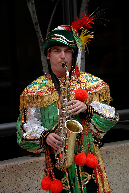 Mummers entertainers, mod rel..Philadelphia, Pennsylvania, PA USA.  Photo copyright Lee Foster, 510-549-2202, lee@fostertravel.com, www.fostertravel.com. Photo 302-30877