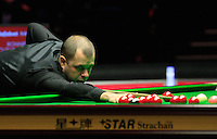 Barry Hawkins plays a shot on the pink during the Dafabet Masters FINAL between Barry Hawkins and Ronnie O'Sullivan at Alexandra Palace, London, England on 17 January 2016. Photo by Liam Smith / PRiME Media Images