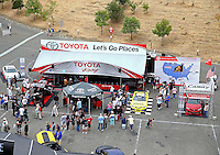 Jul. 27, 2013; Sonoma, CA, USA: Overall view of NHRA fans in the Toyota Pit Pass display during qualifying for the Sonoma Nationals at Sonoma Raceway. Mandatory Credit: Mark J. Rebilas-