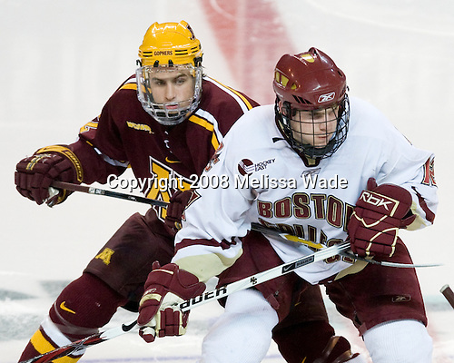 Tony Lucia (Minnesota - 12), Ben Smith (BC - 12) - The Boston College Eagles defeated the University of Minnesota Golden Gophers 5-2 on Saturday, March 29, 2008, in the NCAA Northeast Regional Semi-Final at the DCU Center in Worcester, Massachusetts.