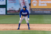 Rancho Cucamonga Quakes center fielder Jeren Kendall (24) during a California League game against the Visalia Rawhide on April 8, 2019 in Visalia, California. Rancho Cucamonga defeated Visalia 4-1. (Zachary Lucy/Four Seam Images)
