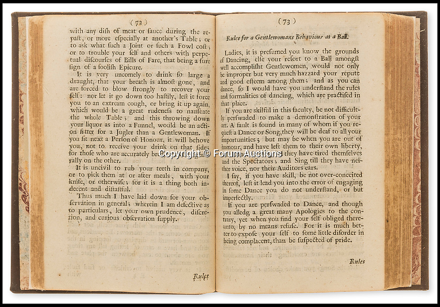 BNPS.co.uk (01202 558833)<br /> Pic: ForumAuction/BNPS<br /> <br /> 'Rules for a Gentlewomans behaviour at a Ball'<br /> <br /> One of the first self help books written by a female for British woman reveals the fascinating world that they inhabited in the times of Charles II.<br /> <br /> The 345 year old handbook reveals how the fairer sex were expected to behave in the late 17th century.<br /> <br /> The rare 1673 first edition of The Gentlewoman's Companion by Hannah Woolley gives advice on how to respond to a man who is seeking 'lewd and immodest actions'.<br /> <br /> The guide, which has emerged for sale for £1,500, also lays down appropriate table manners, outlines how to act at a dance and provides home remedies including ways to tackle 'flactuency' and 'windiness'.<br /> <br /> The author, despite being a woman herself, claims God made men before women and it was the responsibility of the wife to be 'subservient' to her husband.