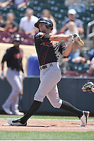 Nashville Sounds Chad Pinder (11) swings during the Pacific Coast League game against the Omaha Storm Chasers at Werner Park on June 5, 2016 in Omaha, Nebraska.  Omaha won 6-4.  (Dennis Hubbard/Four Seam Images)