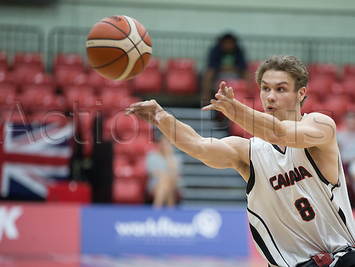 03.07.2016. Leicester Sports Arena, Leicester, England. Continental Clash Wheelchair Basketball, England versus Canada. Liam Hickey (CAN) passes the ball across the court