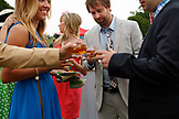 USA, Tennessee, Nashville, Iroquois Steeplechase, friends socialize and enjoy a drink on raceday