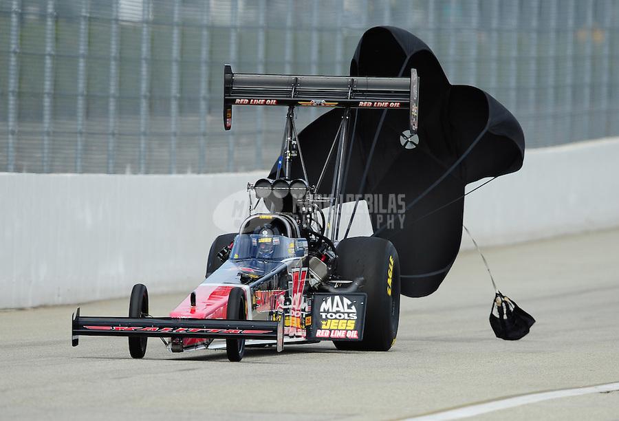 Nov. 13, 2011; Pomona, CA, USA; NHRA top fuel dragster driver David Grubnic during the Auto Club Finals at Auto Club Raceway at Pomona. Mandatory Credit: Mark J. Rebilas-.