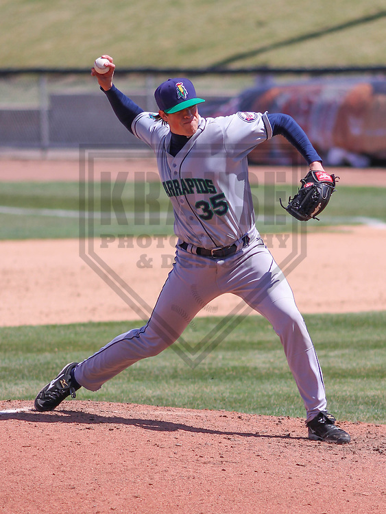 APPLETON - April 2015:  Cedar Rapids Kernels pitcher Trevor Hildenberger (35) during a Midwest League game against the Wisconsin Timber Rattlers on April 23rd, 2015 at Fox Cities Stadium in Appleton, Wisconsin. (Photo Credit: Brad Krause)