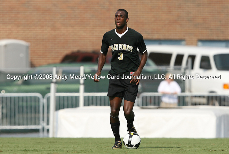 22 August 2008: Wake Forest's Lyle Adams. The Wake Forest University Demon Deacons defeated the Virginia Commonwealth University Rams 2-1 at Fetzer Field in Chapel Hill, North Carolina in an NCAA Division I Men's college soccer game.