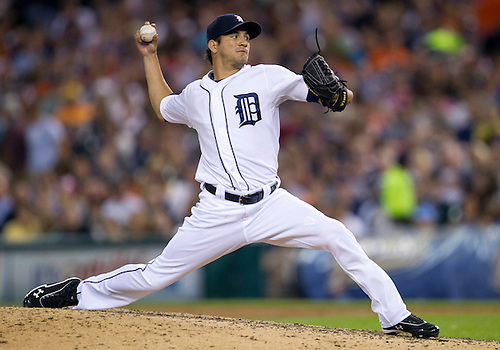 August 22, 2012:  Detroit Tigers pitcher Brayan Villarreal (60) during MLB game action between the Toronto Blue Jays and the Detroit Tigers at Comerica Park in Detroit, Michigan.  The Tigers defeated the Blue Jays 3-2.