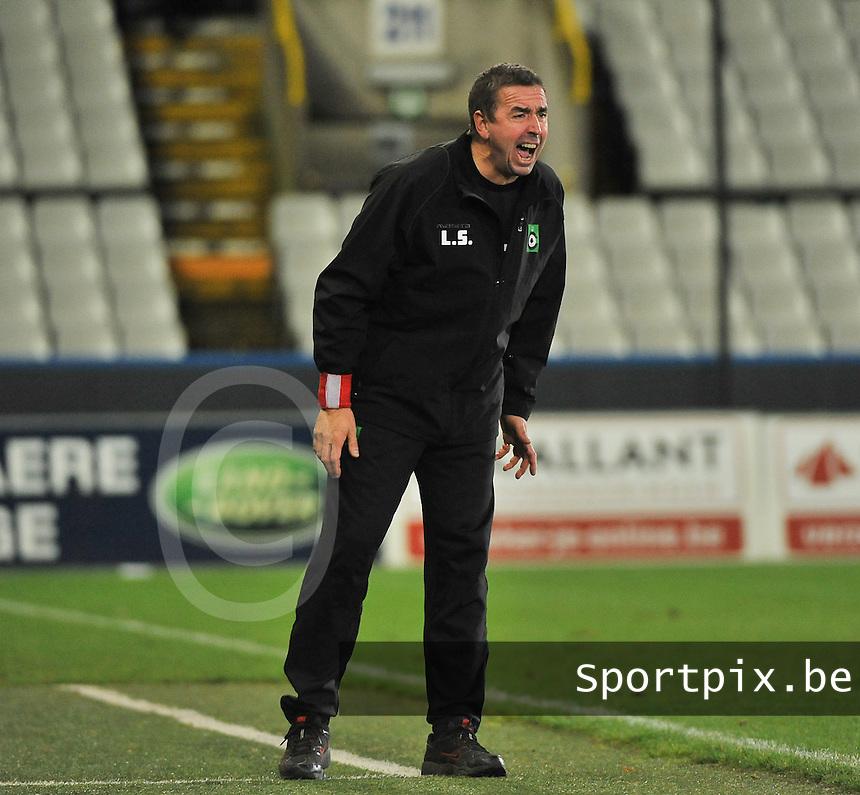 Cercle Brugge - KV Kortrijk : cercle coach Lorenzo Staelens  schreeuwt het uit<br /> foto VDB / Bart Vandenbroucke