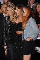 LOS ANGELES, CA - MARCH 12: Trish Cyrus, Miley Cyrus and Brandi Cyrus attend 'The Hunger Games' World Premiere at Nokia Theatre at LA Live on March 12, 2012 in Los Angeles, California. /NortePhoto.com<br /> <br /> **CREDITO*OBLIGATORIO** *No*Venta*A*Terceros*<br /> *No*Sale*So*third*