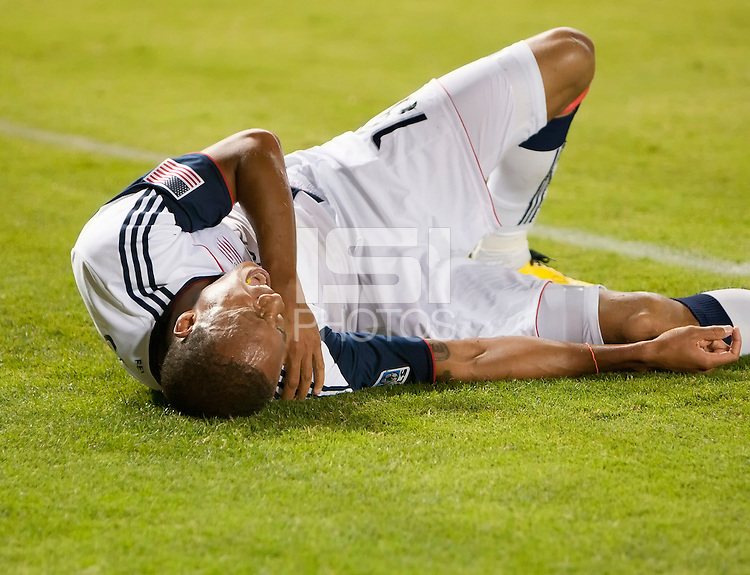 Revolution midfielder Khano Smith (18) injures his shoulder during the second half of the game between Chivas USA and the New England Revolution at the Home Depot Center in Carson, CA, on September 10, 2010. Chivas USA 2, New England Revolution 0.