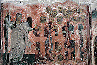 exterior Narthex,Angel pushing into Hell  false prophets and apostles,fresco,wall-painting,Milesheva  Monastery of Ascension of the Lord , 1234-1235,Serbia