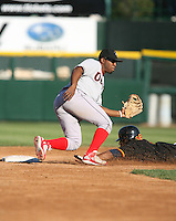 2007:  Joe Thurston of the Ottawa Lynx awaits the throw while covering second base vs. the Rochester Red Wings in International League baseball action.  Photo By Mike Janes/Four Seam Images