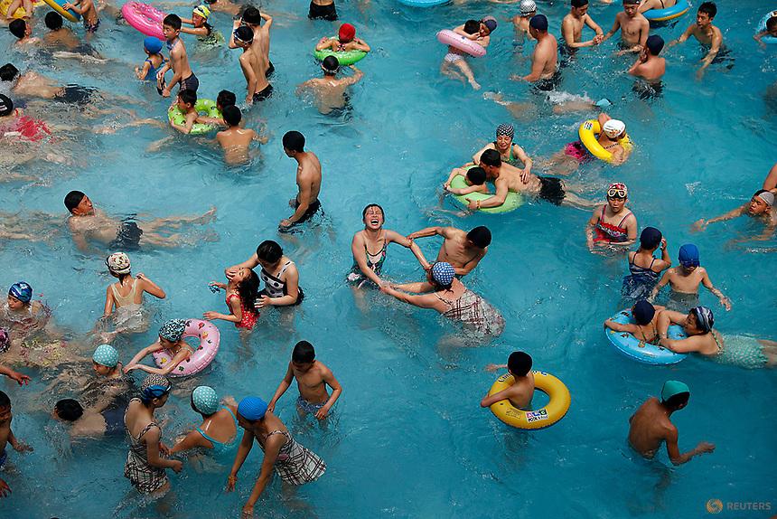 People enjoy the Munsu water park in Pyongyang, North Korea April 16, 2017.    REUTERS/Damir Sagolj