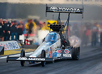 Nov 15, 2019; Pomona, CA, USA; NHRA top fuel driver Antron Brown during qualifying for the Auto Club Finals at Auto Club Raceway at Pomona. Mandatory Credit: Mark J. Rebilas-USA TODAY Sports
