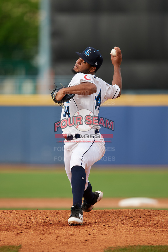 Lake County Captains starting pitcher Gregori Vasquez (34) delivers a pitch during the first game of a doubleheader against the South Bend Cubs on May 16, 2018 at Classic Park in Eastlake, Ohio.  South Bend defeated Lake County 6-4 in twelve innings.  (Mike Janes/Four Seam Images)