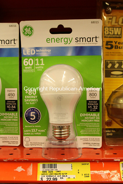 NAUGATUCK, CT-02 January 2014-010214LW05 - A 800 lumen LED light bulb at Ed's Hardware in Naugatuck costs $22.99, but owners would pay about $1.32 per year for the energy to run it. The bulb has an estimated lifespan of 13.7 years.<br />
