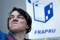 Chantal Potvin takes part into an anti-poverty protest in front of the Congress Center in Quebec city June 15, 2009.