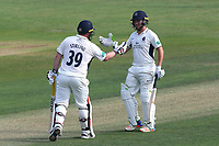 Ryan Higgins (R) congratulates Paul Stirling on his fifty during Essex CCC vs Middlesex CCC, Specsavers County Championship Division 1 Cricket at The Cloudfm County Ground on 26th June 2017