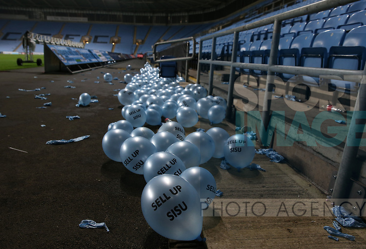 Coventry City fans anti Sisu balloons lie in the Stadium at the end of the match  during the English League One match at the Rioch Arena Stadium, Coventry. Picture date: December 15th, 2016. Pic Simon Bellis/Sportimage