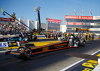 Feb 9, 2018; Pomona, CA, USA; NHRA top fuel driver Mike Salinas during qualifying for the Winternationals at Auto Club Raceway at Pomona. Mandatory Credit: Mark J. Rebilas-USA TODAY Sports