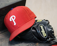 Phillies hat. Photo by Andrew Woolley / Four Seam Images.