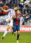 Real Valladolid's Alex Perez (l) and Levante UD's Roger Marti during La Liga Second Division match. March 11,2017. (ALTERPHOTOS/Acero)