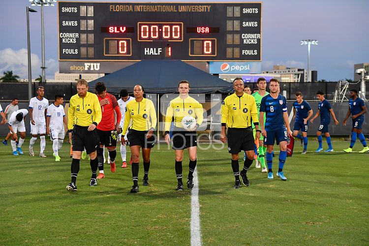 Miami, FL - Tuesday, October 15, 2019:  Referees, USMNT U-23 Starting XI during a friendly match between the USMNT U-23 and El Salvador at FIU Soccer Stadium.