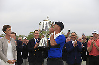 Brooks Koepka (USA) receives the Wanamaker trophy on the 18th green during the final round at the PGA Championship 2019, Beth Page Black, New York, USA. 20/05/2019.<br /> Picture Fran Caffrey / Golffile.ie<br /> <br /> All photo usage must carry mandatory copyright credit (© Golffile | Fran Caffrey)