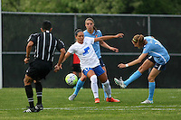 Piscataway, NJ, May 13, 2016.   Sky Blue midfielder, Sarah Killion (16) shoots the ball past Kyah Simon (17) of the Boston Breakers.  Sky Blue FC defeated the Boston Breakers, 1-0, in a National Women's Soccer League (NWSL) match at Yurcak Field.