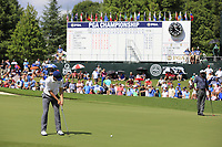 Jordan Spieth (USA) putts on the 18th green during Saturday's Round 3 of the 2017 PGA Championship held at Quail Hollow Golf Club, Charlotte, North Carolina, USA. 12th August 2017.<br /> Picture: Eoin Clarke | Golffile<br /> <br /> <br /> All photos usage must carry mandatory copyright credit (&copy; Golffile | Eoin Clarke)