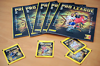 20191122 – BRUSSELS , BELGIUM :  Panini stickers and albums pictured during the press conference of the launch of the Pro League 2020 Panini album for season 2019-2020 , friday 22 th November 2019 at the building of the Pro League – houba de strooperlaan 145 in Brussels  , Belgium  .  PHOTO SPORTPIX.BE | Stijn Audooren
