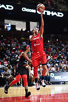 Washington, DC - July 13, 2019: Washington Mystics guard Kristi Toliver (20) drives past Las Vegas Aces guard Jackie Young (0) for a lay up during game between Las Vegas Aces and Washington Mystics at the Entertainment & Sports Arena in Washington, DC. The Aces defeated the Mystics 81-85. (Photo by Phil Peters/Media Images International)