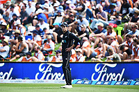 Blackcaps Mitchell Santner and FORD signage during the 4th ODI Blackcaps v England. University Oval, Dunedin, New Zealand. Wednesday 7 March 2018. ©Copyright Photo: Chris Symes / www.photosport.nz