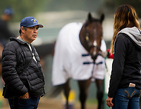 ARCADIA, CA - APRIL 01: Trainer Mick Ruis talks with his daughter Shelbe Ruis as Bolt d'Oro cools out after finishing final preparations for the Santa Anita Derby at Santa Anita Park on April 01, 2018 in Arcadia, California. (Photo by Alex Evers/Eclipse Sportswire/Getty Images)