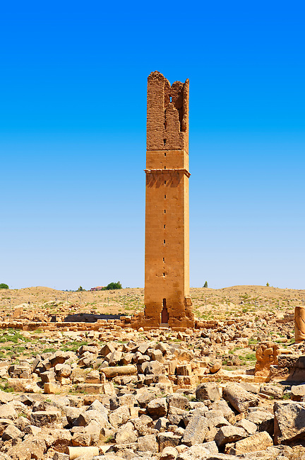 """Pictures of the Arabic astrological observation tower of the 8th century University of  of Harran, south west Anatolia, Turkey.  Harran was a major ancient city in Upper Mesopotamia whose site is near the modern village of Altınbaşak, Turkey, 24 miles (44 kilometers) southeast of Şanlıurfa. The location is in a district of Şanlıurfa Province that is also named """"Harran"""". Harran is famous for its traditional 'beehive' adobe houses, constructed entirely without wood. The design of these makes them cool inside. 51"""